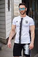 Спортивный костюм шорты и футболка Juventus White/Black  (реплика)