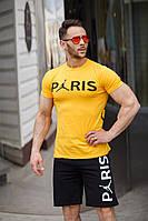Спортивный костюм шорты и футболка PSG Yellow/Black  (реплика)