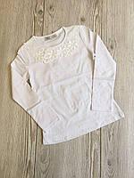 Кофта школьная для девочки 10-13 лет белого, молочного цвета с длинным рукавом оптом