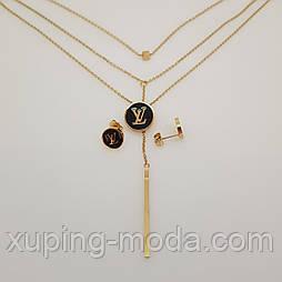 "Набор бижутерии , Подвеска+серьги  ""Louis Vuitton"", Stainless Steel , под золото"