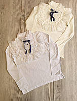 Кофта школьная для девочки 6-13 лет белого, молочного цвета с кружевом оптом