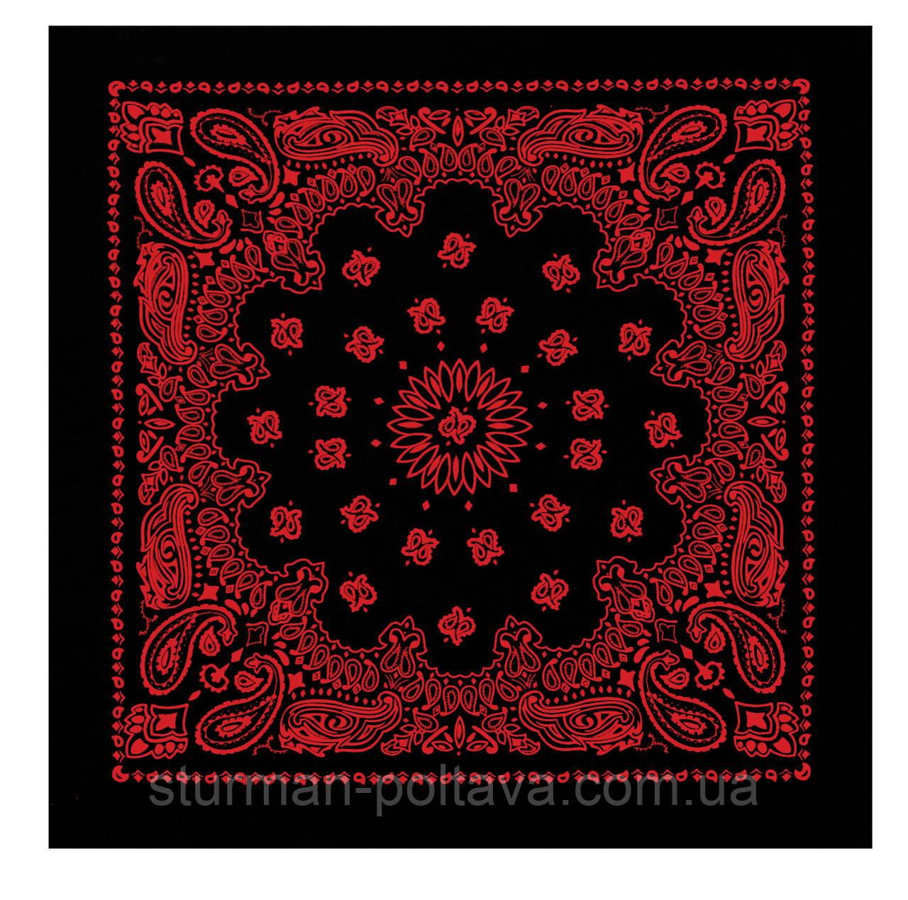 Бандана  большая с классическим  рисунком черная с красным  70х70 см