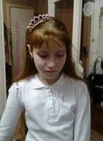 Детская корона с синими камнями, диадема на гребешке, тиара для девочки, высота 3 см., фото 7