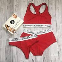 Набор женский Calvin Klein тройка (топ+стринги+шорты), красный XL