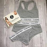 Набор женский Calvin Klein тройка (топ+стринги+шорты), серый S