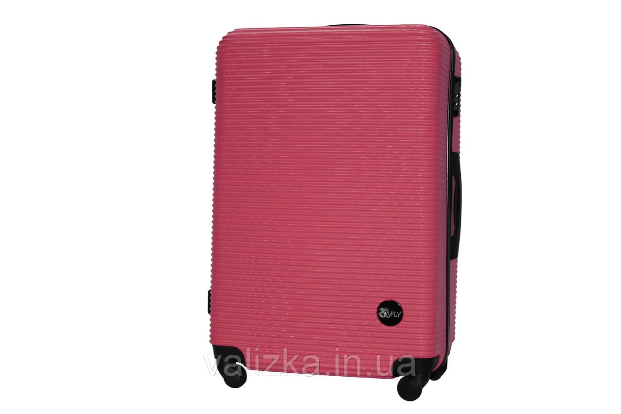 Большой пластиковый чемодан на 4-х колесах бордовый Fly