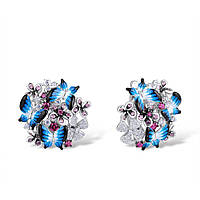 Серебряные серьги Бабочки из ювелирной эмали в цветах