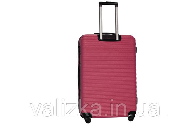 Большой пластиковый чемодан на 4-х колесах бордовый Fly , фото 2