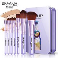 Набор кистей в металлической коробке павлин фиолетовый Bioaqua Make UP Beauty Peacock Purple (7шт), фото 1