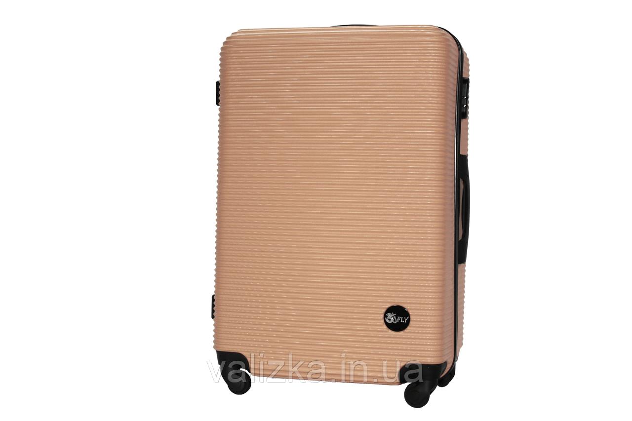 Большой пластиковый чемодан на 4-х колесах шампань Fly