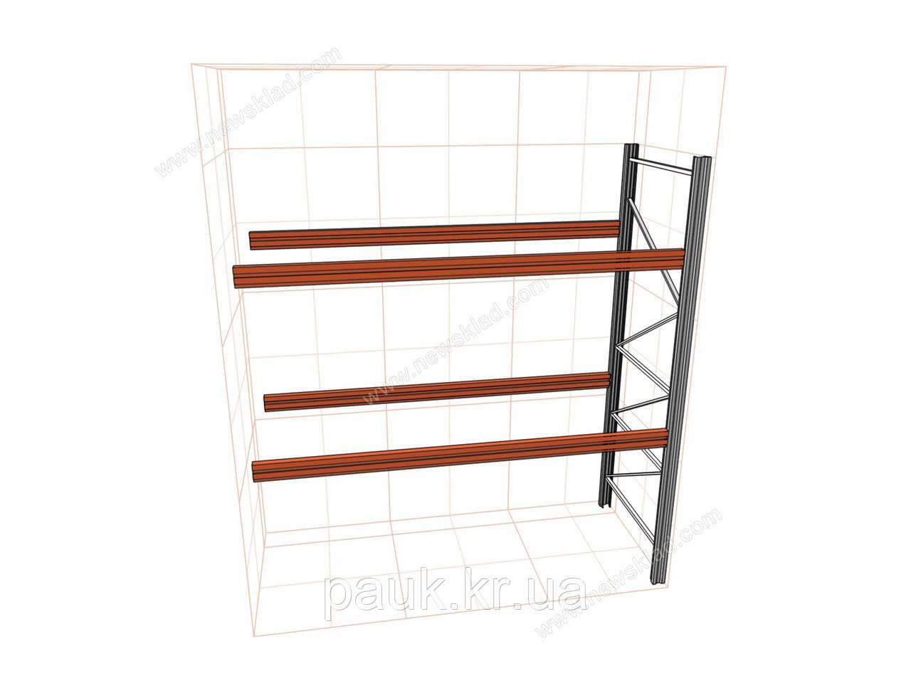 Паллетный стеллаж приставной Н4000хL2700х1100мм(пол.+2 уровня по 3000 кг на уровень), для хранения паллет