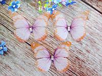"Аппликация, ""Бабочка шифоновая"", двухслойная, цвет на фото, 50х35 мм, 1 шт., фото 1"