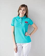 Женская федицинская футболка поло с аппликацией  S-XL