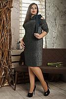 Женское платье с карманами и поясом бутылочное размер: 52,54,56