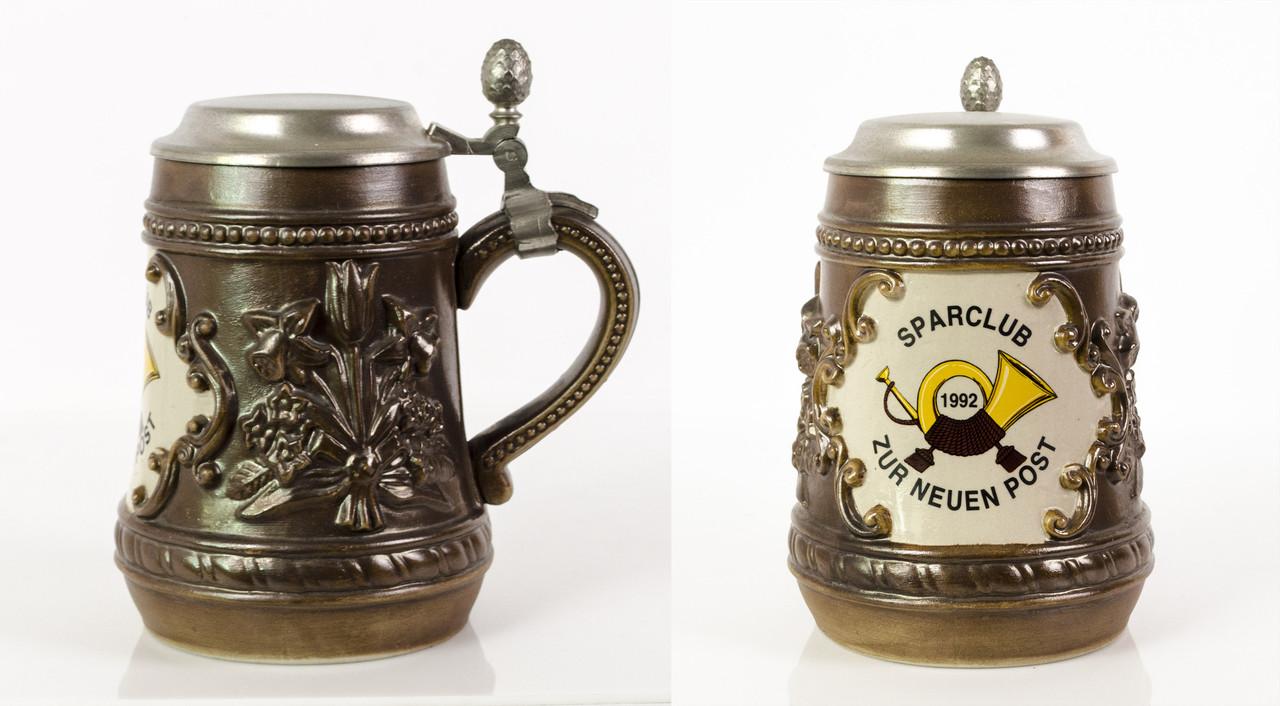 Пивной бокал, кружка, керамика, олово,  Германия, 1992 год