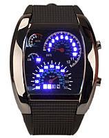 """Спортивные LED-часы """"спидометр"""", чёрный ремешок"""