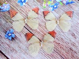 "Аппликация, ""Бабочка шифоновая"", двухслойная, цвет на фото, 42х35 мм, 1 шт."