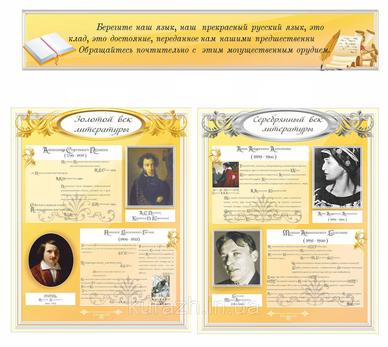 Набір стендів для російської літератури