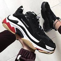 Мужские и женские кроссовки Balenciaga Triple S Black/White/Red