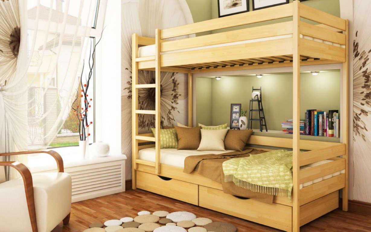 Двухъярусная кровать Дуэт Массив 80х190 см. Эстелла