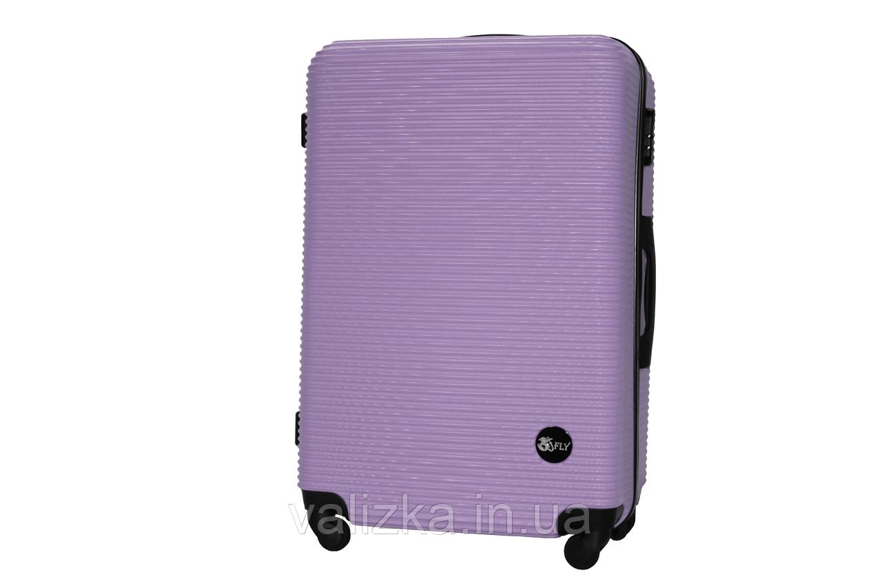 Большой пластиковый чемодан на 4-х колесах фиолетовый Fly