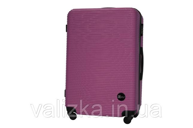 Большой пластиковый чемодан на 4-х колесах темно-фиолетовый Fly , фото 2