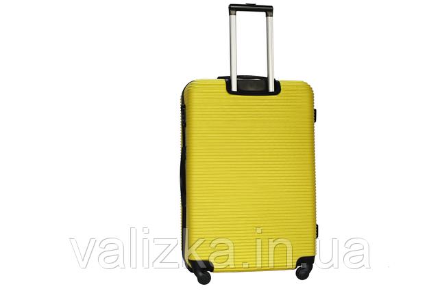 Большой пластиковый чемодан на 4-х колесах желтый Fly , фото 2