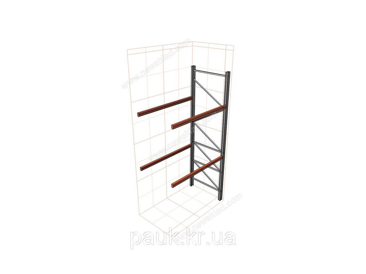 Складской стеллаж приставной H4500хL1800х1100 мм(пол.+2 уровня по 2400 кг на уровень), стеллаж для паллет