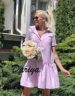 Платье летнее мини в мелкую полоску
