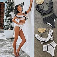 Роздільний Купальник жіночий модний в горошок топ з волок і труси висока посадка Kkmn147