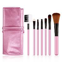 Набор кистей в розовом чехле Bioaqua Make UP Brush Set Pink (7шт)