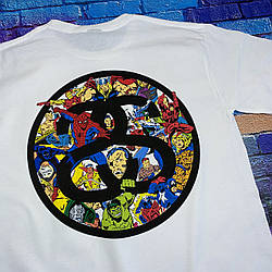 Футболка Stussy Marvel . Люкс . Белая футболка