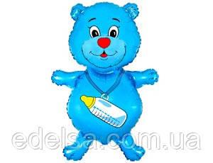 Шар на выписку из роддома мальчика мишка голубой  с гелием