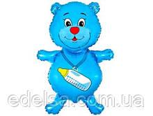Куля на виписку з пологового будинку хлопчика мишка блакитний з гелієм