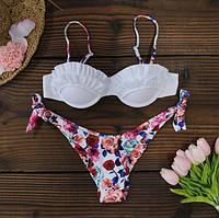 Женский раздельный купальник цветочный с рюшами и пушапом белый L, фото 1