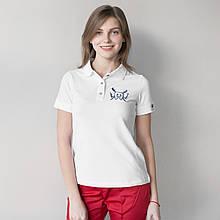 Медицинская красивая женская футболочка поло с вышитым зубиком S-XL.
