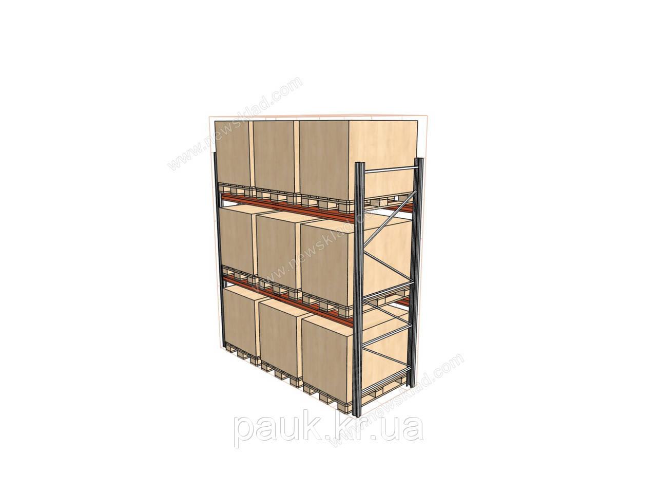 Стеллаж складской фронтальный H4500хL2700х1100 мм(пол.+2 уровня по 3000 кг на уровень), стеллаж для паллет
