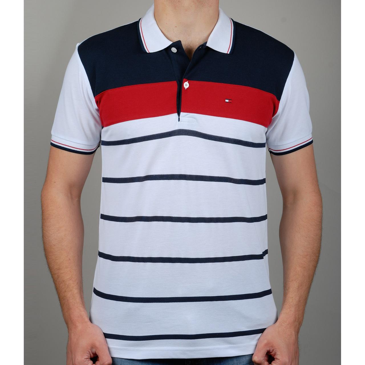 Мужская футболка поло TOMMY HILFIGER R375 белая