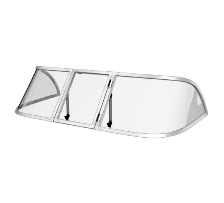Ветровое стекло для моторной лодки Обь 1 Стандарт П материал ПОЛИКАРБОНАТ Ob 1