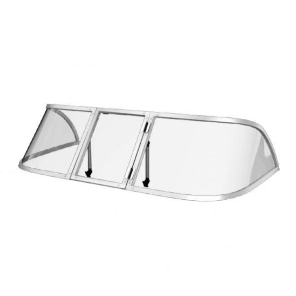Ветровое стекло для моторной лодки Обь 3 Стандарт П материал ПОЛИКАРБОНАТ Ob 3 Standard K