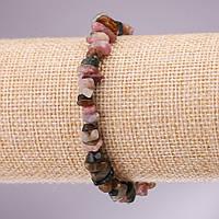 Браслет из натурального камня Турмалин крошка на резинке d-5-8мм L-18см