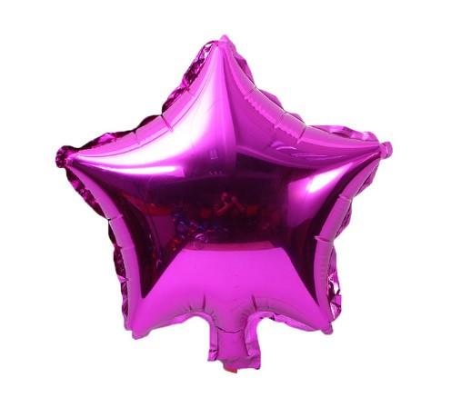 Фольгированный розовый шарик звезда - 20см