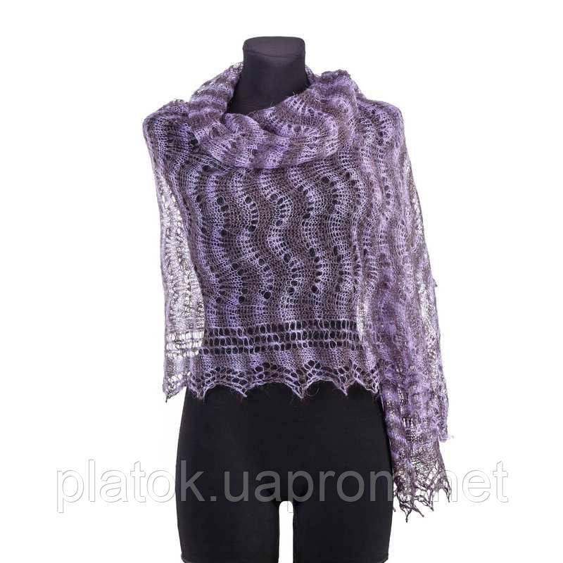 Палантин Гребешок П-00128, сиренево-черничный, 170х70, оренбургский шарф (палантин) козий пух