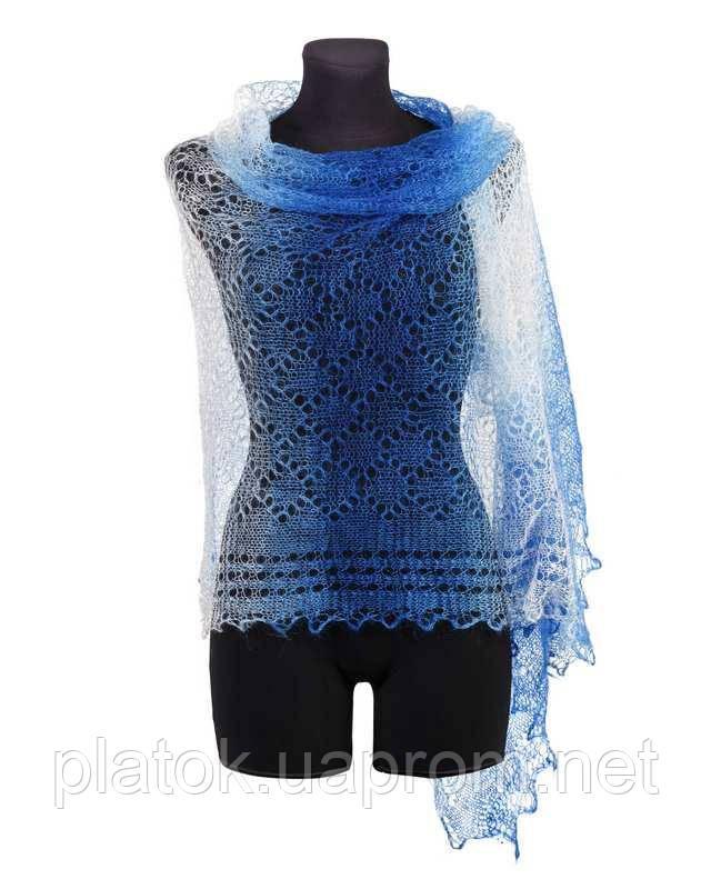 Палантин Ромбики П-00127, біло-блакитно-синій, 140х90, оренбурзький шарф (палантин) козячий пух