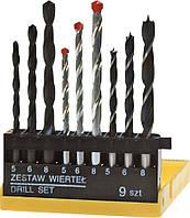 Сверла разные металл/бетон/дерево набор 9 шт. Top Tools 60H009.