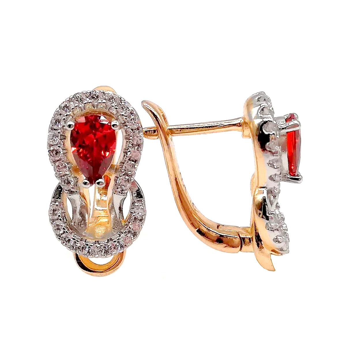 Серьги Хuping из медицинского золота с красными и белыми фианитами (куб. цирконием), в позолоте, ХР00216 (1)