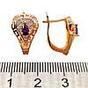Серьги Хuping из медицинского золота с фиолетовыми и белыми фианитами (куб. цирконием) в позолоте, ХР00233 (1), фото 2