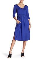 Женское синее миди платье с карманами Superfoxx