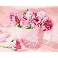 """Картина за номерами """"Чайні троянди"""" (квіти, букет, рожевий колір)"""