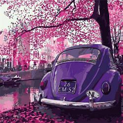 """Картина по номерам """"В стиле ретро 2"""" (пейзаж, авто, в розовом цвете)"""